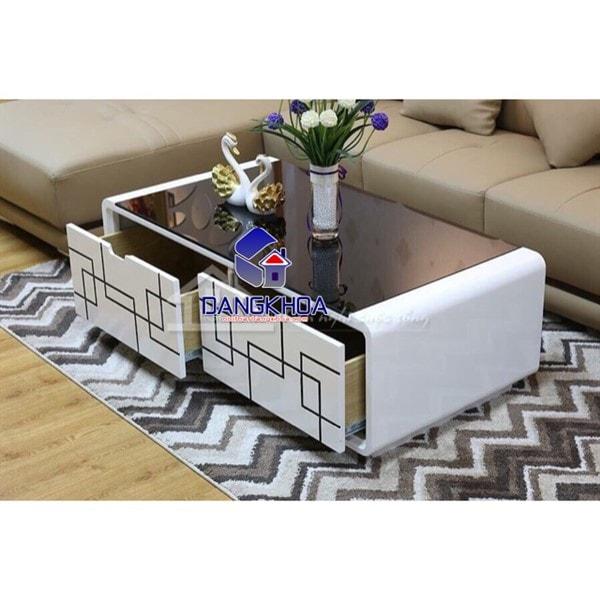 Bàn sofa kính màu đen trắng