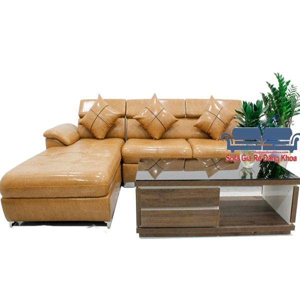 Bộ sofa chữ L màu da bò hiện đại