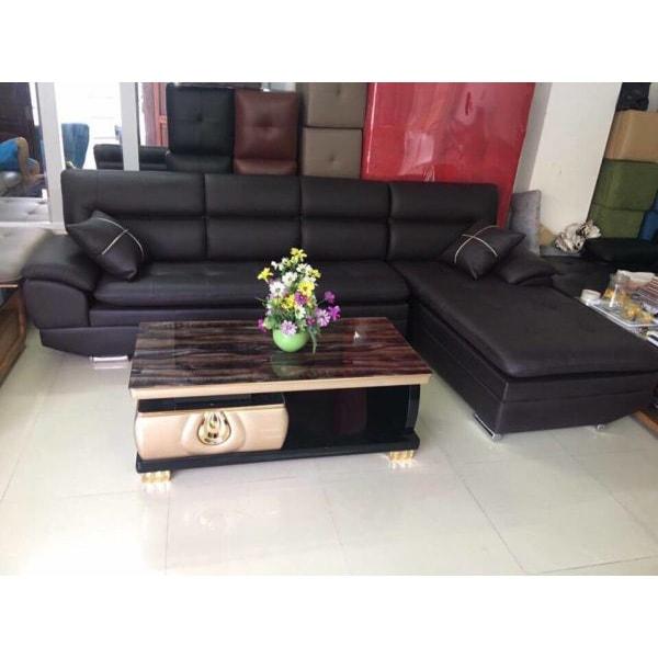 Ghế sofa da chữ L màu đen đẹp