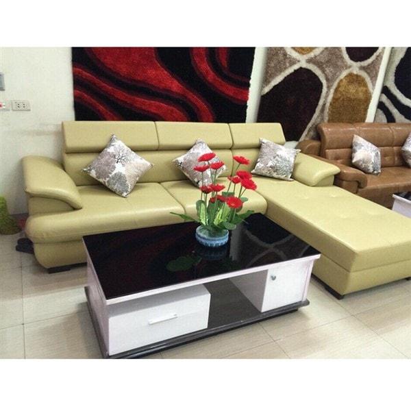 Ghế sofa da chữ L màu kem đẹp