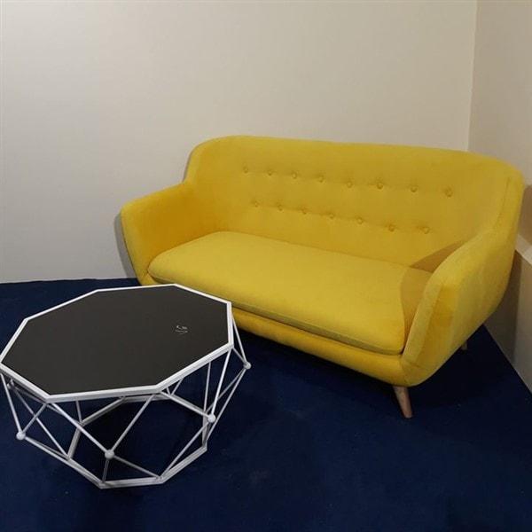 Ghế sofa đơn nỉ màu vàng