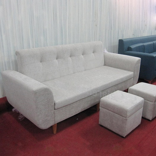 Ghế sofa đơn nỉ văng rút khuy hiện đại