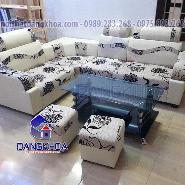 Ghế sofa góc nỉ pha da hoa cúc