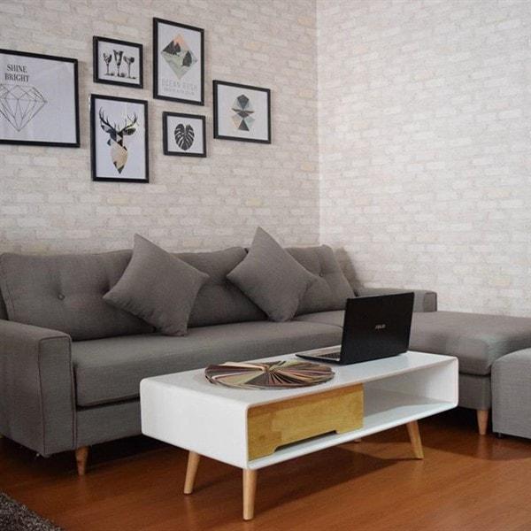 Ghế sofa nỉ chữ L màu ghi