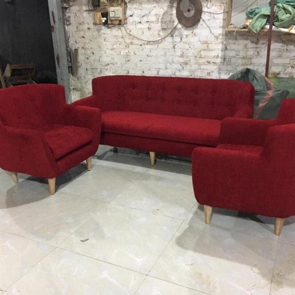 Ghế Sofa văng nỉ màu đỏ dài 1m6