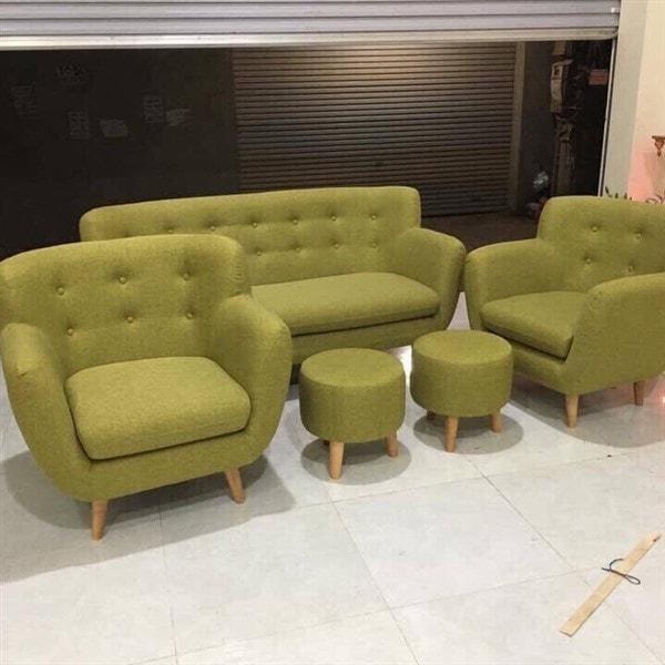 Ghế Sofa văng nỉ màu xanh dài 1m6