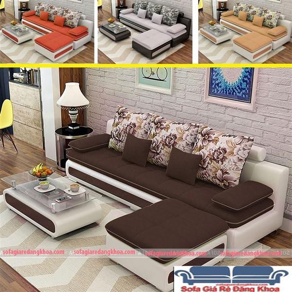 Ghế sofa văng nỉ pha da hiện đại