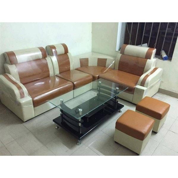 Mẫu sofa góc giá rẻ màu vàng bò