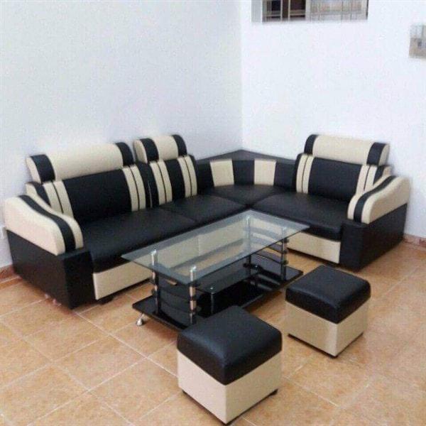 Sofa bộ góc giá rẻ màu đen sọc trắng