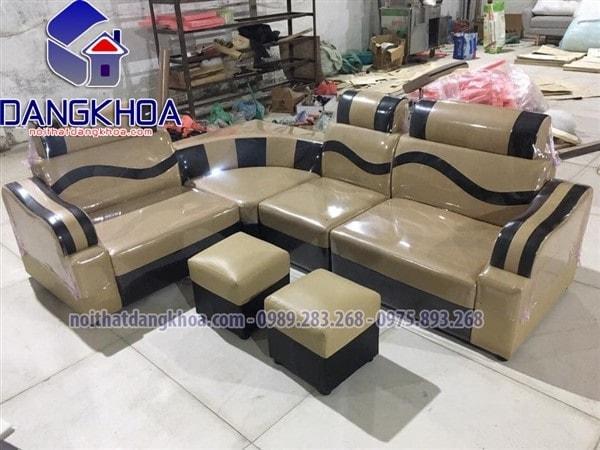 Sofa da góc giá rẻ màu đen pha kem