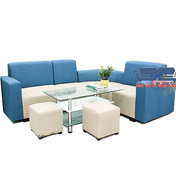 Sofa góc nỉ màu xanh kem