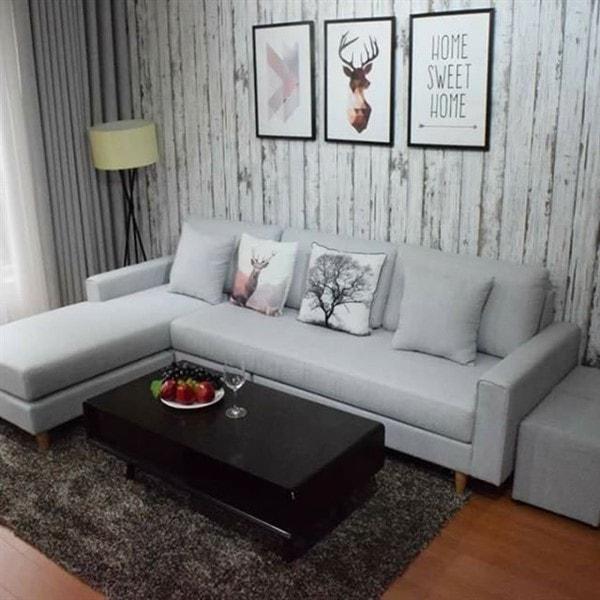 Sofa nỉ chữ L màu xám giá rẻ